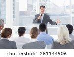 businessman doing speech during ...   Shutterstock . vector #281144906