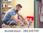 young hipster father changing... | Shutterstock . vector #281145749