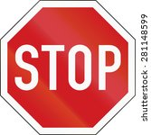 a standard stop sign in the... | Shutterstock . vector #281148599
