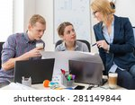 office workers talking about... | Shutterstock . vector #281149844