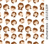 pattern of people's faces | Shutterstock .eps vector #281151209