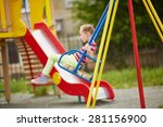 cute girl swinging on... | Shutterstock . vector #281156900