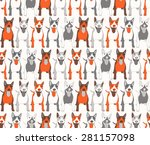 seamless background of dogs | Shutterstock .eps vector #281157098