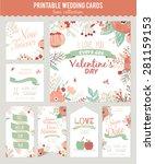 vintage romantic floral save... | Shutterstock .eps vector #281159153