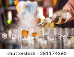 snifters on bar desk  close up. | Shutterstock . vector #281174360