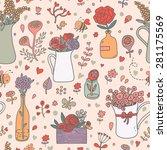 stunning floral seamless...   Shutterstock .eps vector #281175569