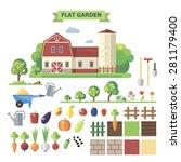 flat garden  vector set.... | Shutterstock .eps vector #281179400