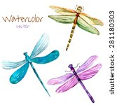 Watercolor Dragonfly Set....