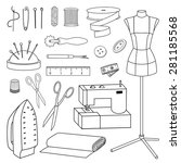 isolated vector sewing tools... | Shutterstock .eps vector #281185568