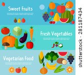 food banners in flat style.... | Shutterstock .eps vector #281187434