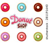 donut icon set with donut shop... | Shutterstock .eps vector #281191640