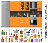 kitchen furniture. set of... | Shutterstock .eps vector #281195033