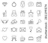 wedding line icons on white... | Shutterstock .eps vector #281199374