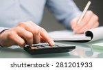 a female accountant uses a... | Shutterstock . vector #281201933