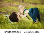 young mother with her little... | Shutterstock . vector #281208188