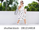 young stylish hipster woman... | Shutterstock . vector #281214818