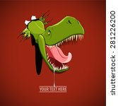angry and hungry dinosaur comes ... | Shutterstock .eps vector #281226200