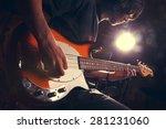 Guy Playing Bass  Guitar Close...