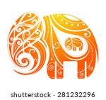 ornamental elephant figure... | Shutterstock .eps vector #281232296