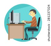 office man working by personal... | Shutterstock .eps vector #281237324