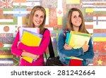 student women over flags... | Shutterstock . vector #281242664