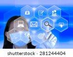 technician pressing application ... | Shutterstock . vector #281244404