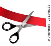 scissors cutting red ribbon | Shutterstock .eps vector #281248118