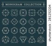 vintage monogram set. vector... | Shutterstock .eps vector #281252204