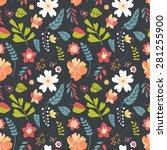 seamless floral pattern.... | Shutterstock . vector #281255900