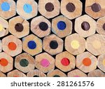 close up color pencil with... | Shutterstock . vector #281261576