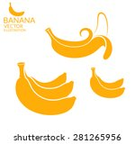 banana. icon set. vector... | Shutterstock .eps vector #281265956