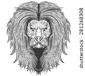 stylish handdrawn lion... | Shutterstock . vector #281268308