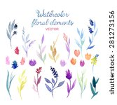 set of different watercolor... | Shutterstock .eps vector #281273156