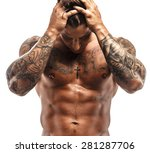 tattooed muscular guy posing in ... | Shutterstock . vector #281287706