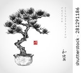 bonsai pine tree hand hand... | Shutterstock .eps vector #281291186