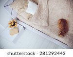 Stock photo bright white bedroom interior cat sitting on a bed with beige linen flowers on a bedside table 281292443