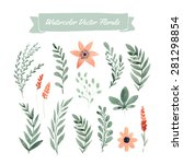 set of handpainted watercolor... | Shutterstock .eps vector #281298854