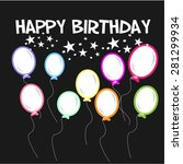 black background with balloons... | Shutterstock .eps vector #281299934