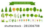 Paper Trendy Flat Trees and Flowers Set Vector Illustration EPS10