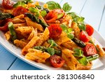 pasta with meat  tomato sauce... | Shutterstock . vector #281306840