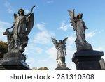 Three Angel Statues Stand Tall...