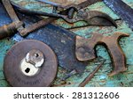 old rusty vivid tools on work... | Shutterstock . vector #281312606