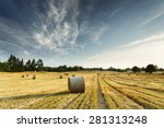 Landscape Of Rolled Hay Straw...