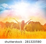 free happy woman enjoying... | Shutterstock . vector #281320580