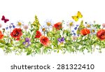 Stock photo vintage floral horizontal border watercolor meadow flowers grass herbs seamless frame 281322410