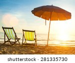 beach loungers on deserted... | Shutterstock .eps vector #281335730