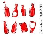 bottles ketchup set. vector | Shutterstock .eps vector #281351600