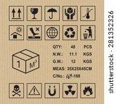 cargo symbols on cardboard... | Shutterstock .eps vector #281352326