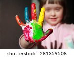 cute little girl with painted... | Shutterstock . vector #281359508