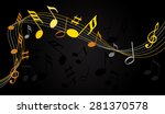 gold music notes on a solide... | Shutterstock .eps vector #281370578